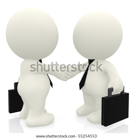 3D business people handshake - isolated over a white background