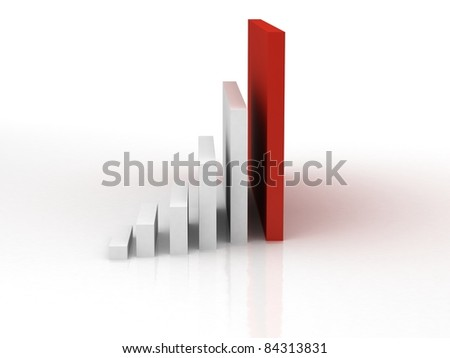 3d business statistics in white background with reflection on floor