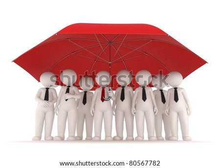 3d business team standing under a big red umrella
