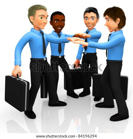 3D business team with hands together in the middle - isolated white