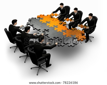 3d business team work building a puzzle  white background