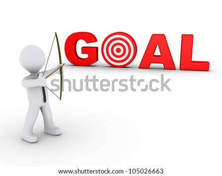 3d businessman as an archer is aiming at a red GOAL - target