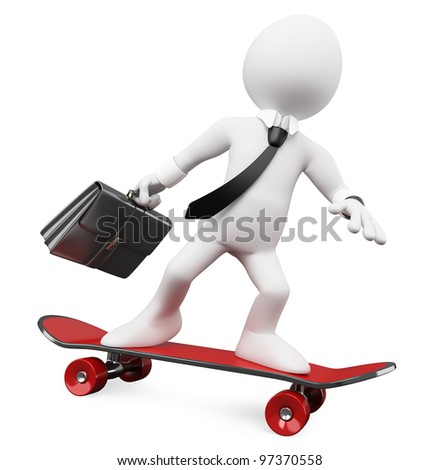 3D Businessman going to work on a skateboard. Rendered at high resolution on a white background with diffuse shadows.