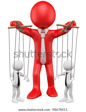 3D businessman handling their employees like marionettes. Rendered at high resolution on a white background with diffuse shadows.
