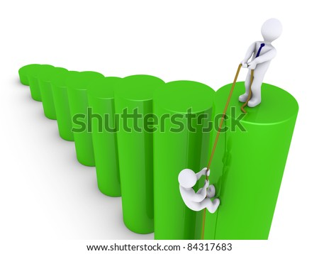 3d businessman helping another to climb on top of graph