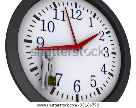 3d businessman is hanging from a clock pointer