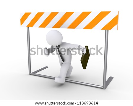 3d businessman is running below obstacle - stock photo