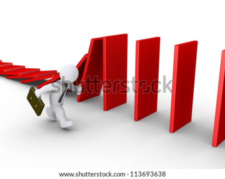 3d businessman is running beside domino