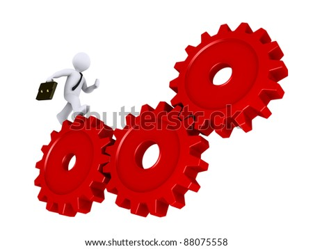 3d businessman is running on three red cogs