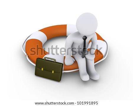 3d businessman is sitting on round lifebuoy