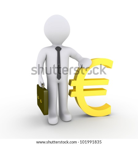 3d businessman leaning on euro sign