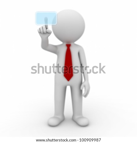 3d businessman pushing a button on a touch screen interface on white background