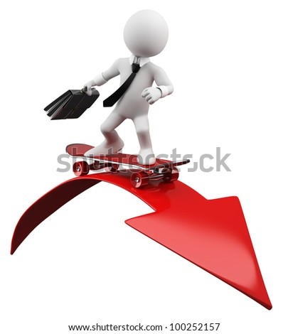 3D Businessman - Red arrow. Rendered at high resolution on a white background with diffuse shadows.