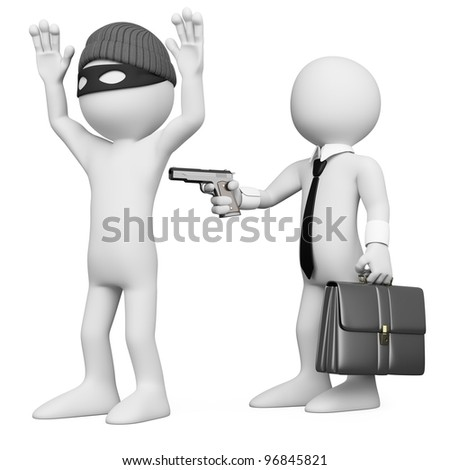 3D businessman robbing a robber. Rendered at high resolution on a white background with diffuse shadows.