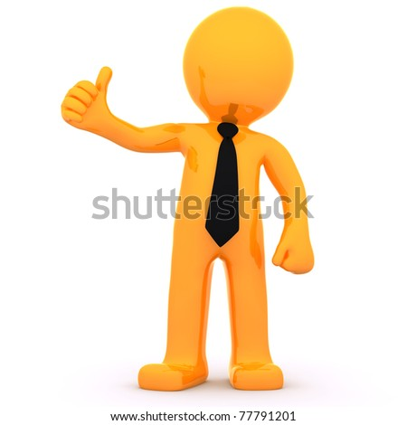 3d Businessman showing thumbs up. Isolated on white background