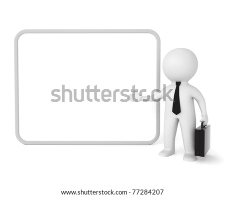3d businessman with board - stock photo