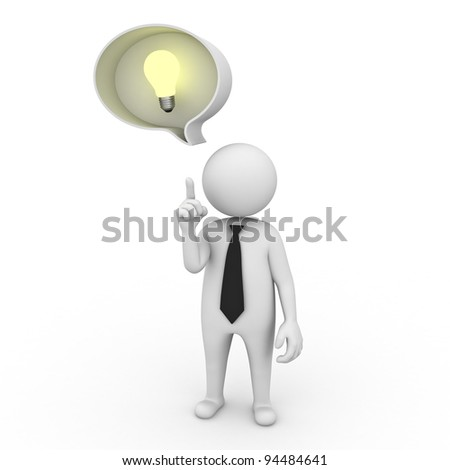 3d businessman with idea lightbulb in speech bubble isolated on white background