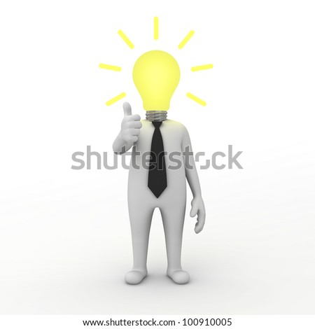 3d businessman with idea lightbulb isolated on white background