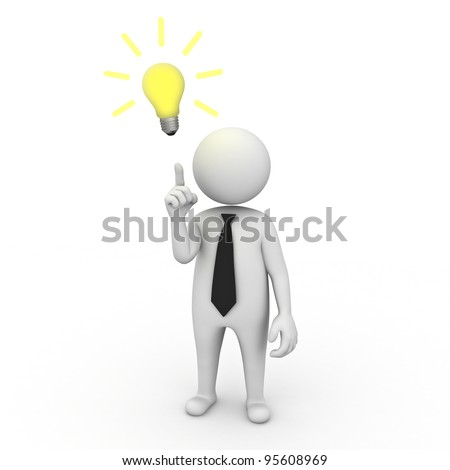 3d businessman with idea lightbulb on white background