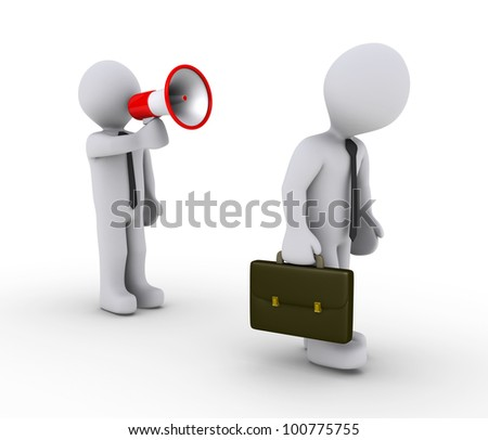3d businessman with megaphone shouting to another walking away