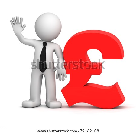 3d businessman with pound currency symbol. Isolated