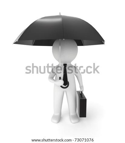 3d businessman with umbrella