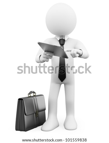 3D Businessman - Working with a tablet. Rendered at high resolution on a white background with diffuse shadows.