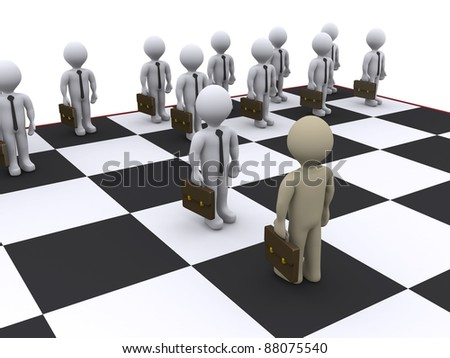 3d businessmen as pawns on chessboard