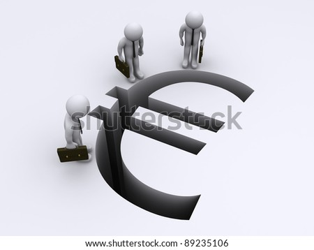 3d businessmen looking down to Euro sign gap