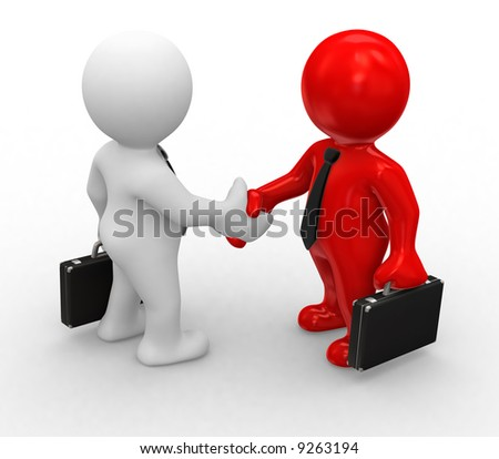 3d bussines white and red humans make a handshake - stock photo