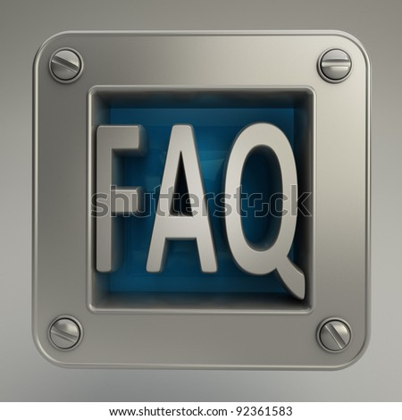 3D button icon with FAQ symbol  High resolution