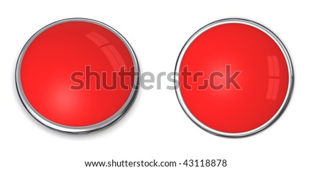 3D button in solid light red, front and side angle - stock photo