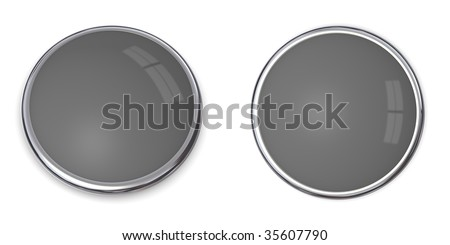 3D button in solid 60 percent grey, front and side angle