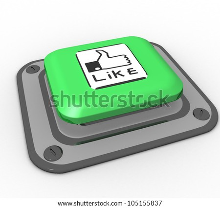 3d button like the green on a white background isolated