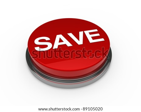 3d button red chrome save white text