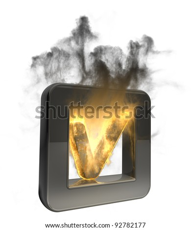 3D button Tick symbol flaming icon isolated on white background High resolution