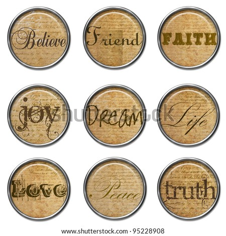 3D buttons - Vintage Word Set - stock photo