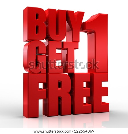 3D Buy 1Get 1 Free text on white background