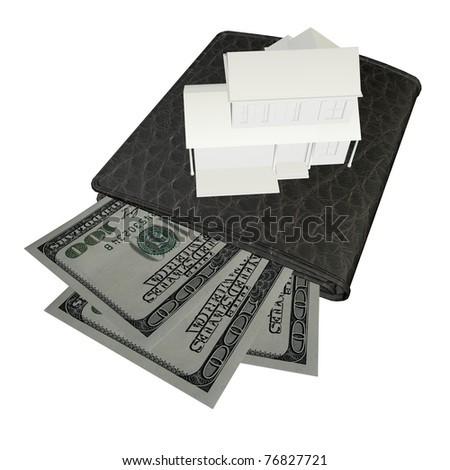 3d Buying a new home, pay Cash on a white background