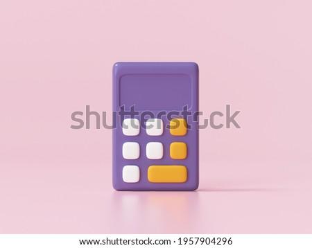 3d Calculator icon on pink background 3d render illustration