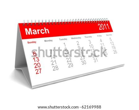 3D calendar March 2011