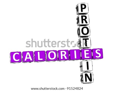 3D Calories Protein Crossword on white background