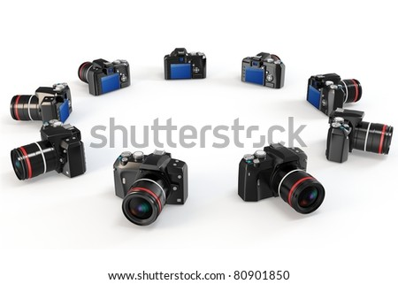 3d cameras producing 360 degrees panorama isolated on white