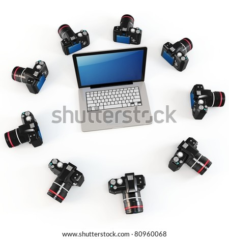 3d cameras producing 360 degrees panorama with laptop isolated on white