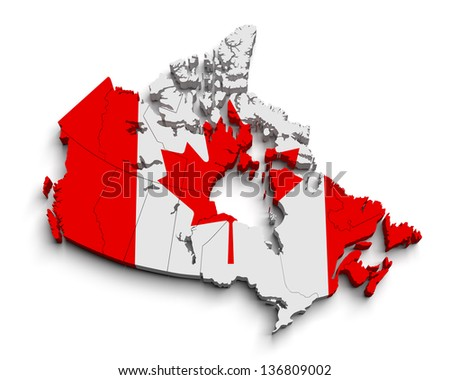 3d canada flag map on white isolated