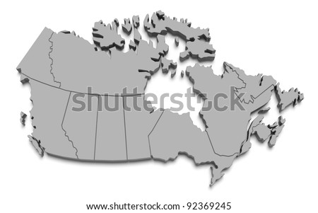 3d canada map on white isolated