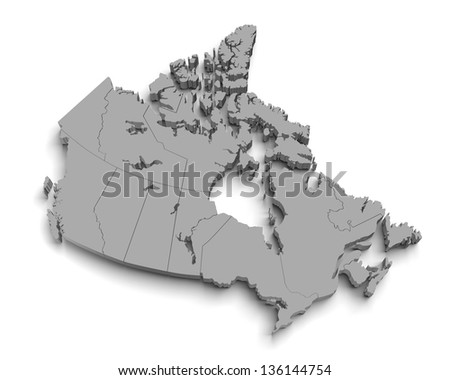 3d canada map on white with territory and regions isolated