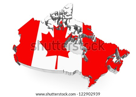 3d Canada map with flag on a white background
