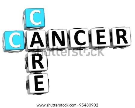 3D Cancer Care Crossword over white background - stock photo