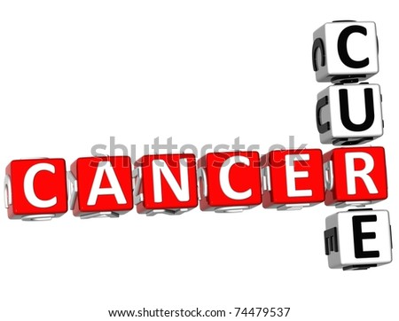 3D Cancer Cure Crossword on white background - stock photo